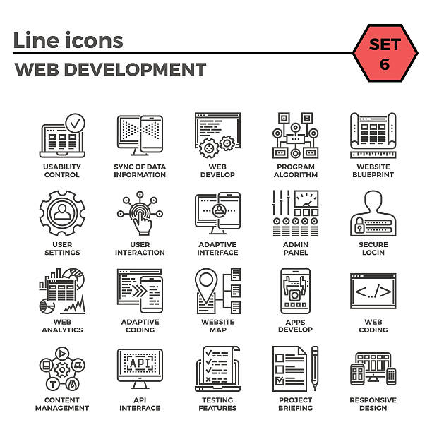 Web Development Line Icon Set Web Development Thin Line Related Icons Set of Web Design and Website Customization on White Background. Simple Mono Linear Pictogram Pack Stroke Vector Logo Concept for Web Graphics. arthropod stock illustrations