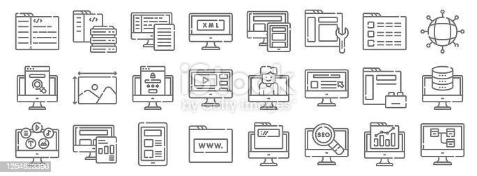web development line icons. linear set. quality vector line set such as sitemap, seo, website, content, plugin, login, networking, responsive de, server