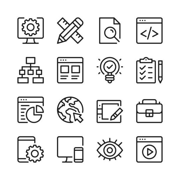 illustrations, cliparts, dessins animés et icônes de ensemble d'icônes de ligne de développement web. conception web, développement de site web. concepts de design graphique modernes, simple collection d'éléments linéaires. conception mince de ligne. graphismes de ligne de vecteur - book