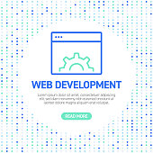 Web Development Line Icons. Simple Outline Symbol Icons with Pattern