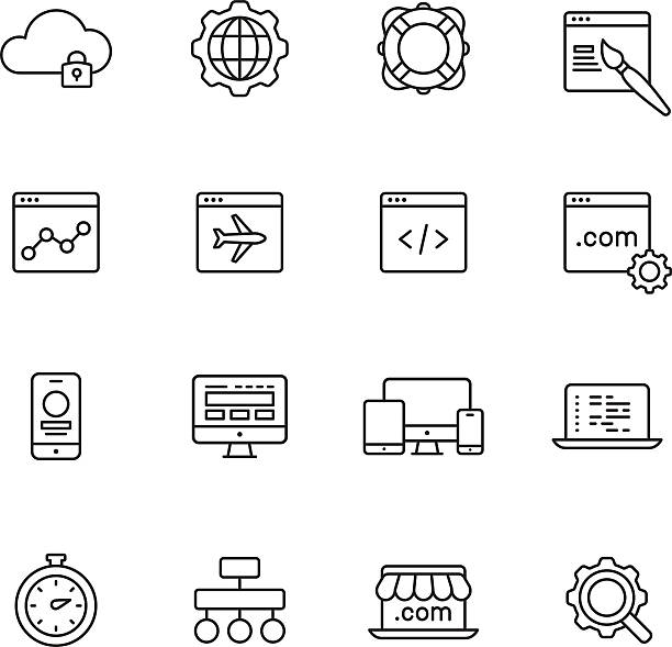 Web Development Line Icons Web development line Icons html stock illustrations
