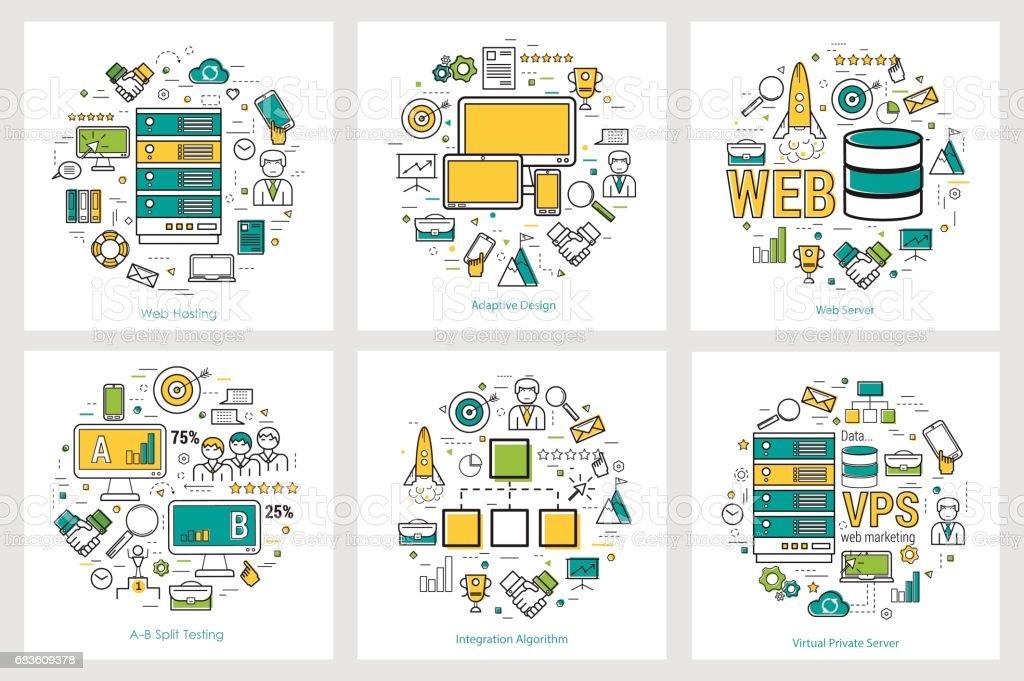 Web development - linear round concepts vector art illustration