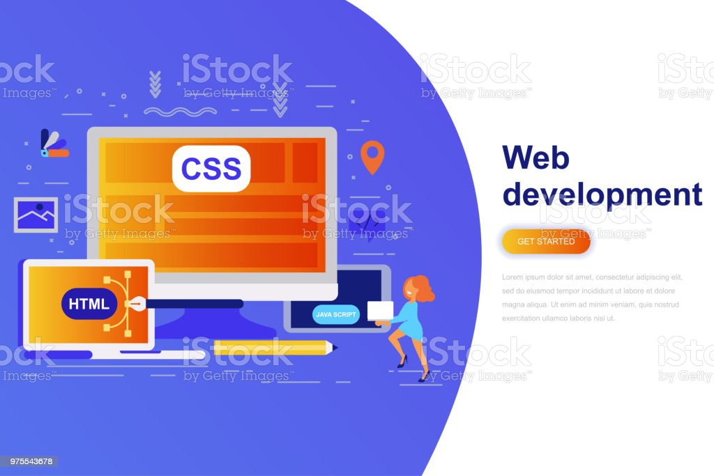 web development modern flat concept web banner with decorated small