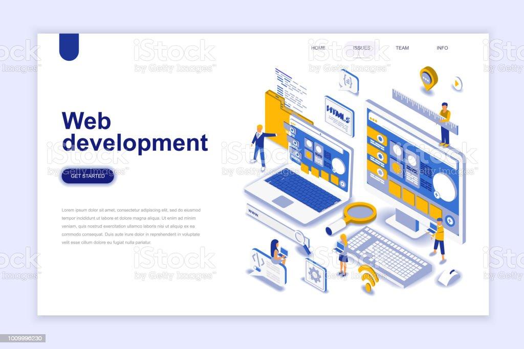Web development modern flat design isometric concept. royalty-free web development modern flat design isometric concept stock illustration - download image now