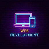 Web Development Neon Label. Vector Illustration of Computer Promotion.