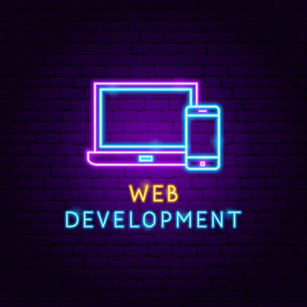 Web Development Neon Label Web Development Neon Label. Vector Illustration of Computer Promotion. web design stock illustrations