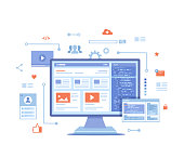 istock Web development, optimization, user experience, user interface in e-commerce. Website layout elements, photo, video, program code, search bar, site wireframe. Vector illustration on white background 1217177624