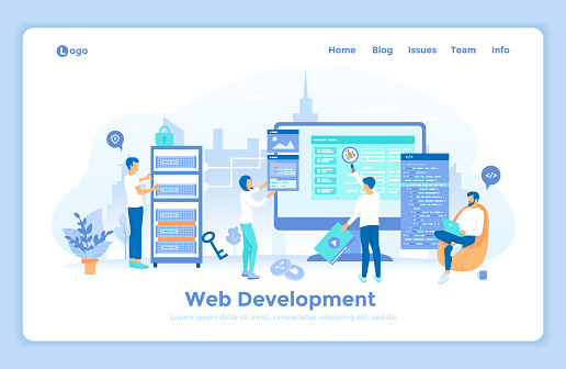 Web Development Programming Coding. Programmers team are working on a new website. Monitor, program code, server. landing web page design template decorated with people characters.