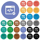 Web development round flat multi colored icons