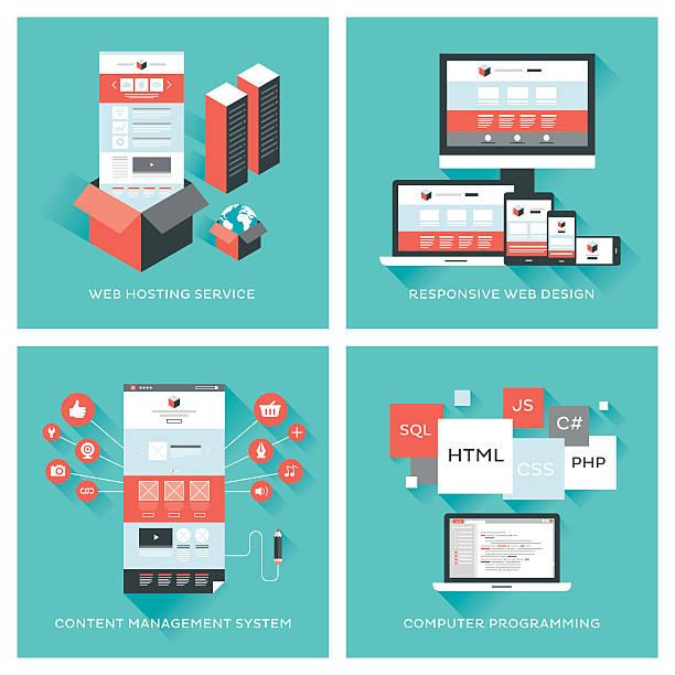 Web development set Set of flat vector illustrations with layers. website design stock illustrations