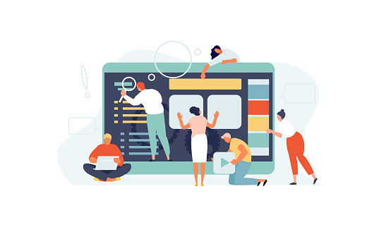 Team of people website development. Seo specialist, designers, programmers and content manager vector illustration