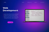 Web development themed website page template. Development of software and mobile app. Program code on laptop, vibrant violet landing page template, purple background. vector