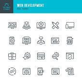 Web Development - thin line vector icon set. 20 linear icon. Pixel perfect. Editable outline stroke. The set contains icons: Web Design, Web Development, Data Analysis, Coding, SEO, Portfolio, Web Page, Creative Occupation.