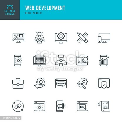 Web Development - thin line vector icon set. 20 linear icon. Pixel perfect. Editable outline stroke. The set contains icons: Web Design, Web Development, Data Analysis, Coding, SEO, Portfolio, Web Page, Creative Occupation.