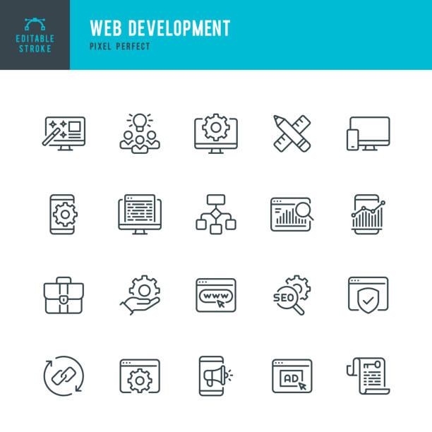 bildbanksillustrationer, clip art samt tecknat material och ikoner med webbutveckling - tunn linje vektor ikonuppsättning. pixel perfekt. redigerbar linje. uppsättningen innehåller ikoner: webbdesign, dataanalys, kodning, seo, portfolio, webbsida, kreativ ockupation. - it support