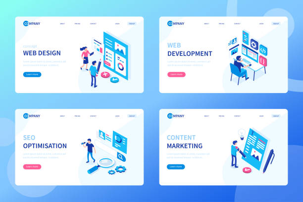 web development Web development process concept. Can use for web banner, infographics, hero images. Flat isometric vector illustration isolated on white background. seo stock illustrations