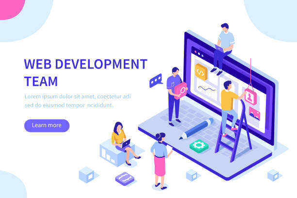 web development People team work together in web industry. Can use for web banner, infographics, hero images.  Flat isometric vector illustration isolated on white background. web design stock illustrations