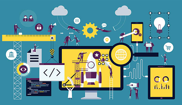 web development - technology icons stock illustrations, clip art, cartoons, & icons