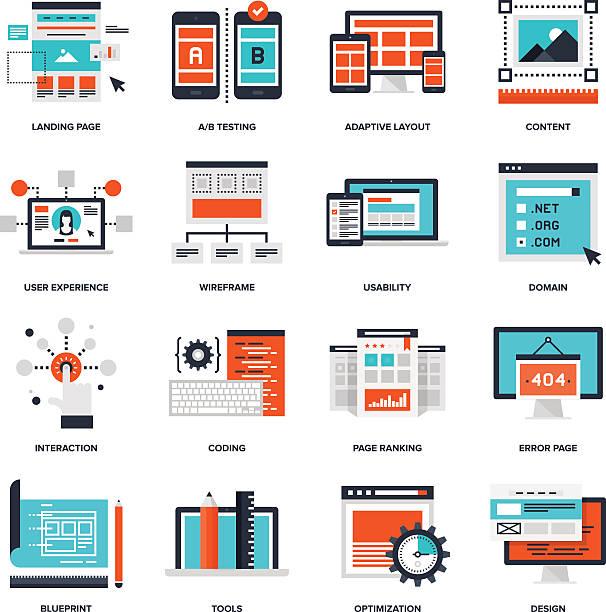 web development - website infographics stock illustrations, clip art, cartoons, & icons
