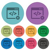 Color web development flat icon set on round background.