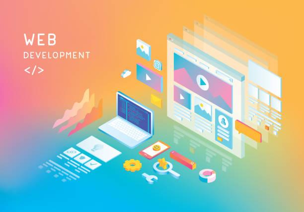web development - strona startowa stock illustrations