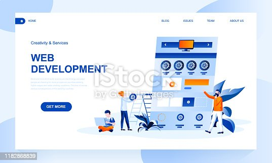Web development vector landing page template with header. Programme engineering web banner, homepage with flat illustrations. Technology, software, cyber project website design layout