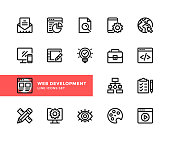 Web development vector line icons. Simple set of outline symbols, modern linear graphic design elements. Web development icons set. Pixel Perfect