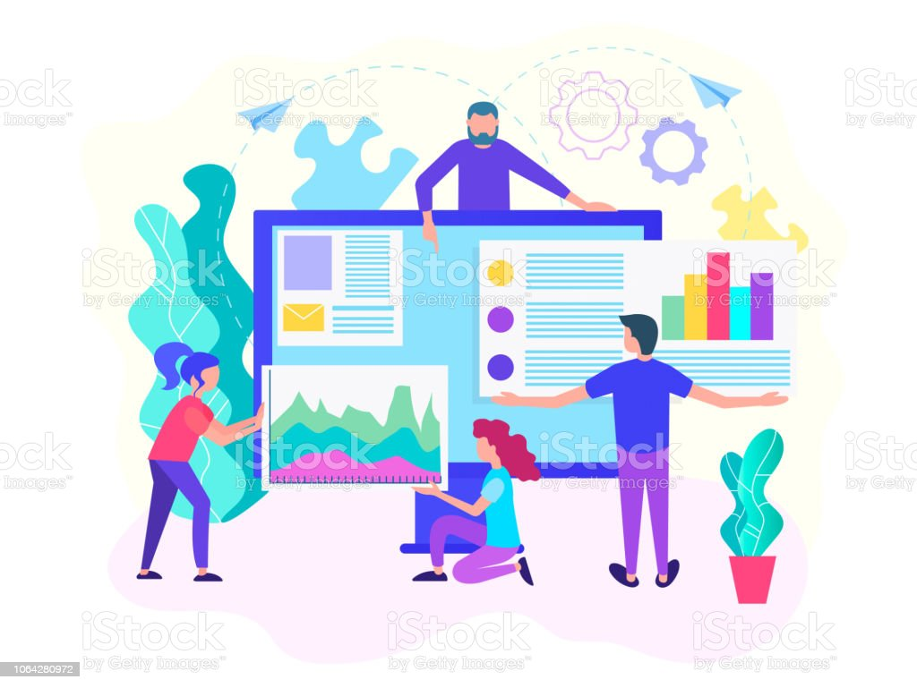Webontwikkeling, analitics web, webdesign, teamwerk concept. - Royalty-free Aanbrengen vectorkunst