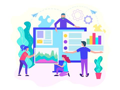 Webontwikkeling Analitics Web Webdesign Teamwerk Concept Stockvectorkunst en meer beelden van Aanbrengen