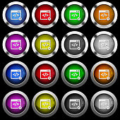 Web development white icons in round glossy buttons on black background