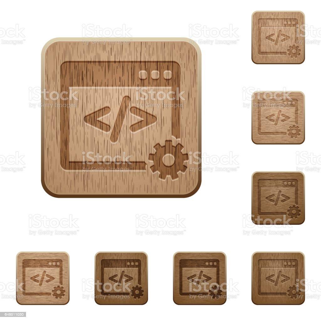 Web development wooden buttons vector art illustration