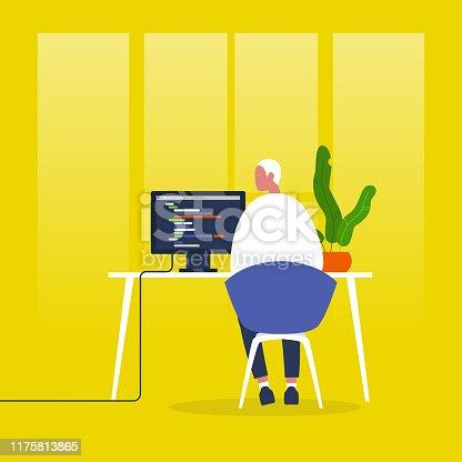 Web development. Young male character writing a code on a desktop computer. Modern technologies. Tech industry. Startup. Flat editable vector illustration, clip art