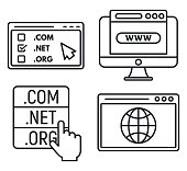 Web domain icons set. Outline set of web domain vector icons for web design isolated on white background