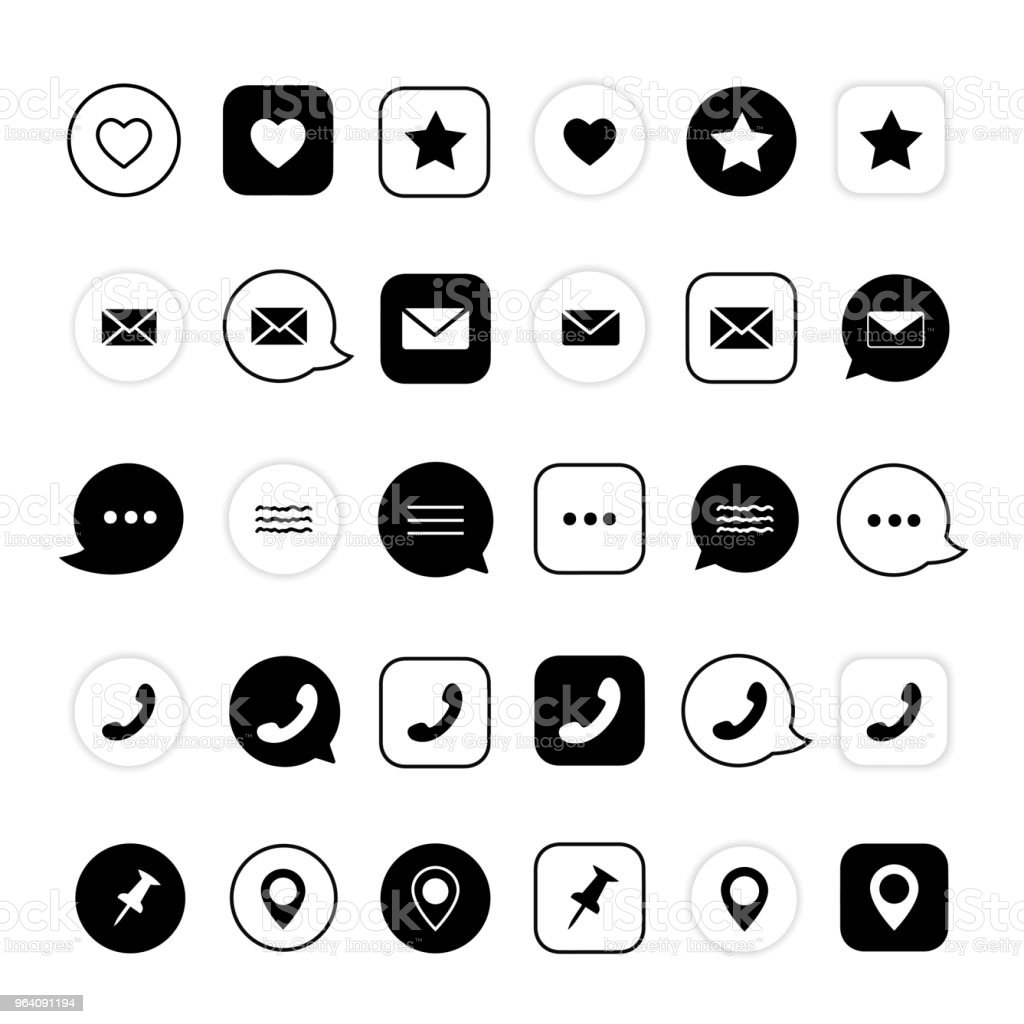 Web elements. Phone sign, like, favorite sign, location, message sign. - Royalty-free Black Color stock vector