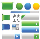 A set of glossy web elements and icons. .eps v10 file.