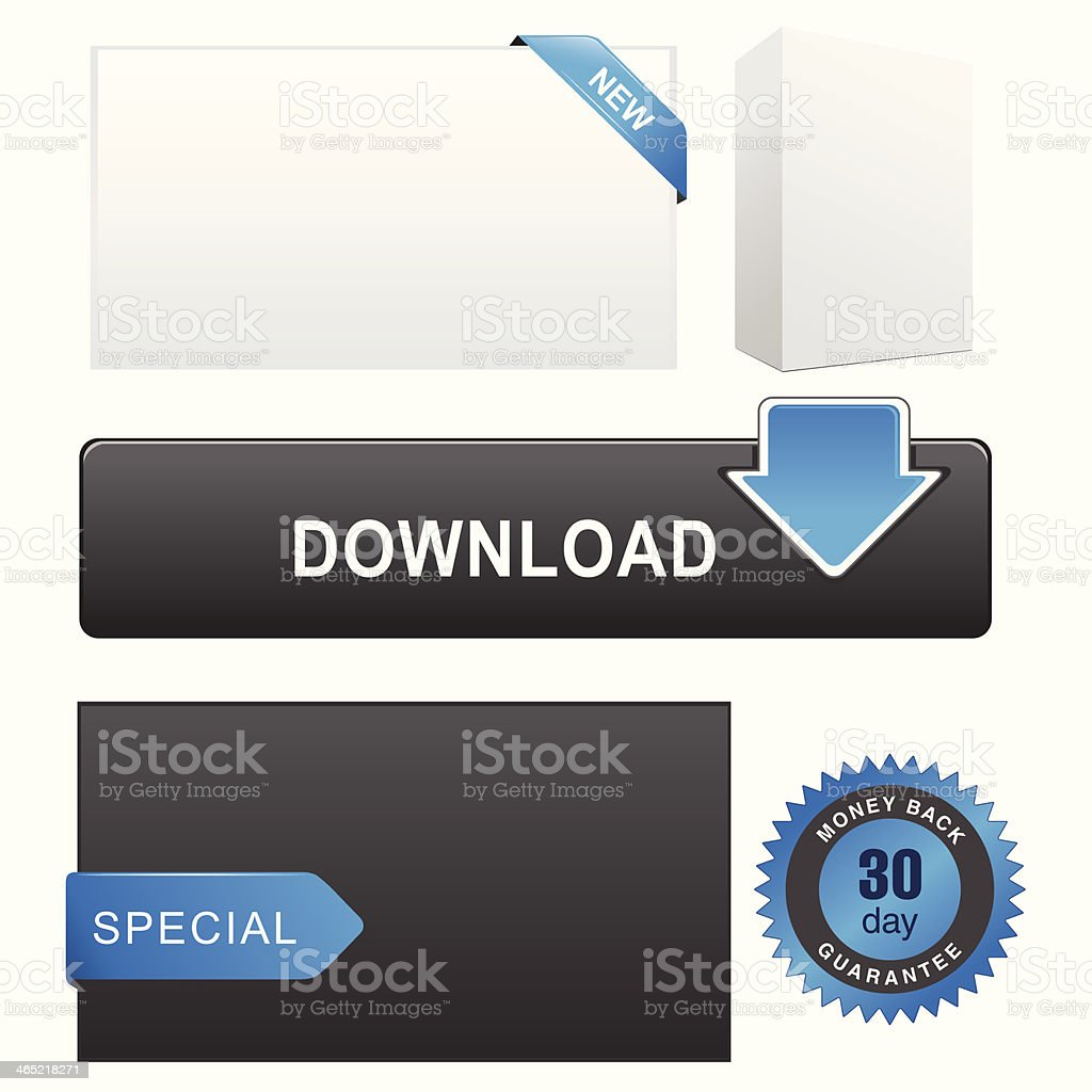 Web Elements (Blue) royalty-free stock vector art