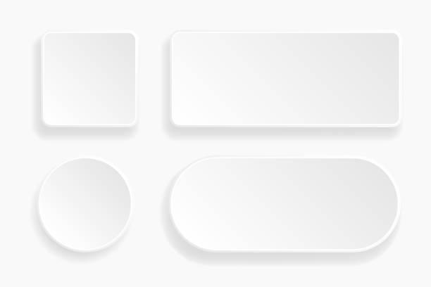 web 浮雕3d 按鈕。白色空白3d 圖示向量藝術插圖