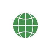 Web environment icon. Green ecological sign. Protect planet. Vector illustration for design.