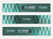 Web header, set of vector horizontal abstract banners.