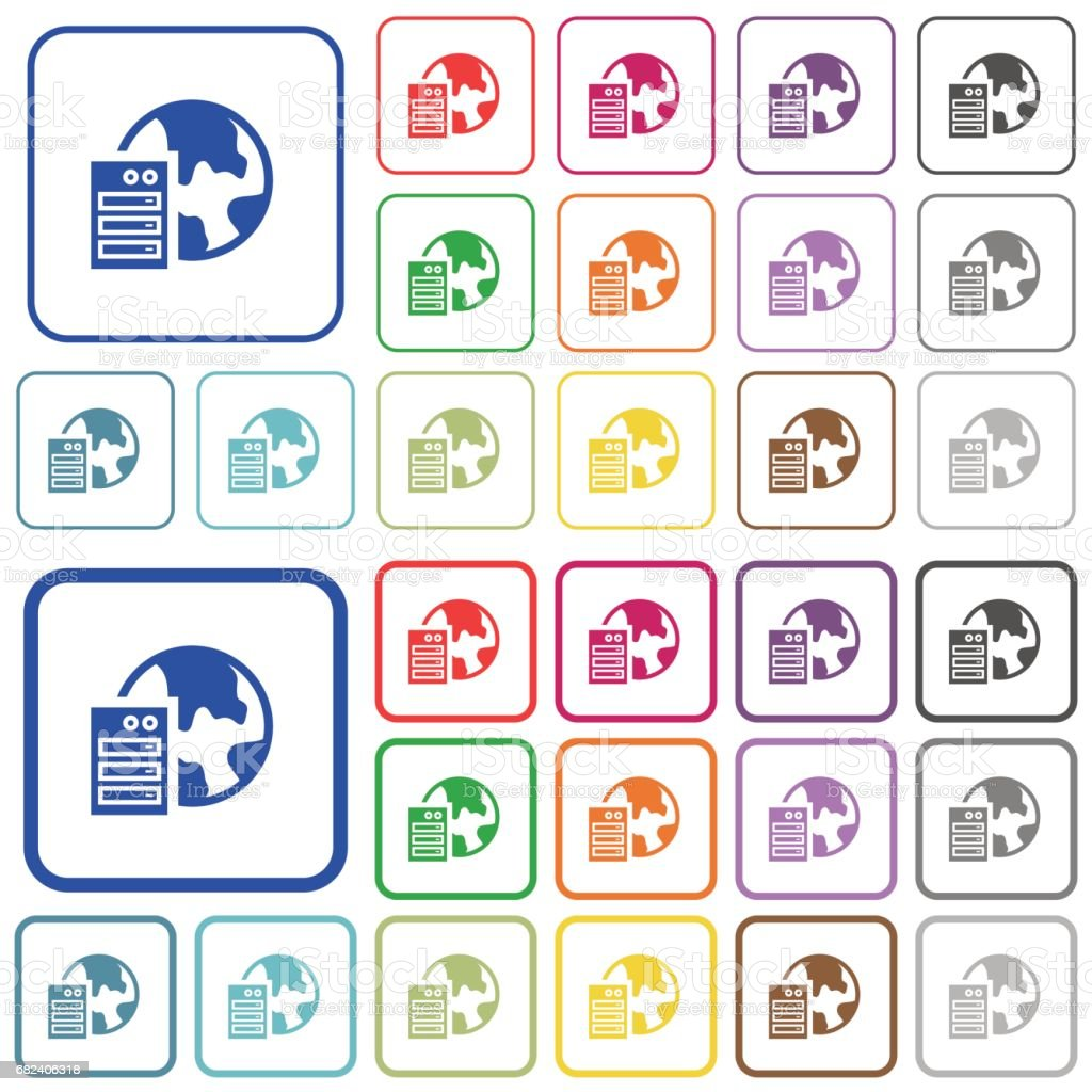 Web hosting color outlined flat icons royalty-free web hosting color outlined flat icons stock vector art & more images of applying