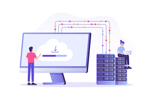 Web hosting concept with people characters. Online database, server, web data center, cloud computing, technology, computer, security. Isolated modern vector illustration for web, banner, poster, ui