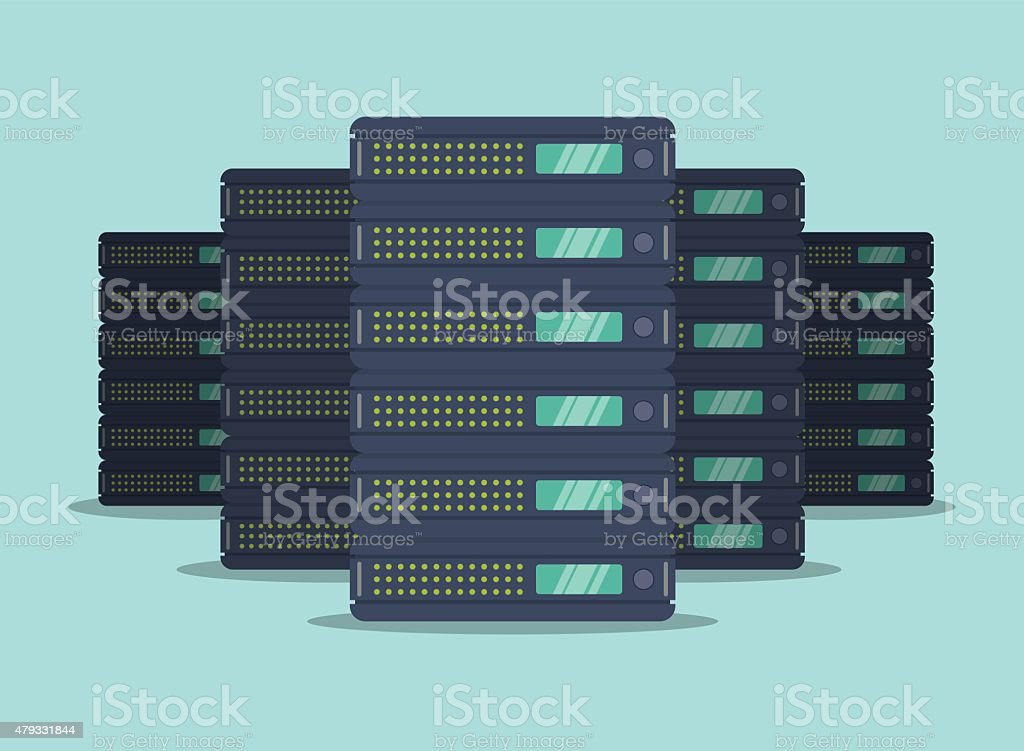Web hosting design. vector art illustration