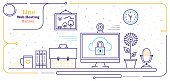 Line vector illustrations of web hosting security.