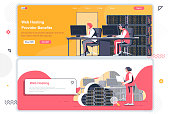 Web hosting provider landing pages set. Data center, cloud storage service corporate website. Flat vector illustration with people characters. Web concept use as header, footer or middle content.