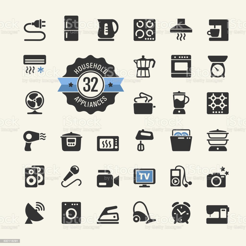 Web icon collection - household appliances vector art illustration