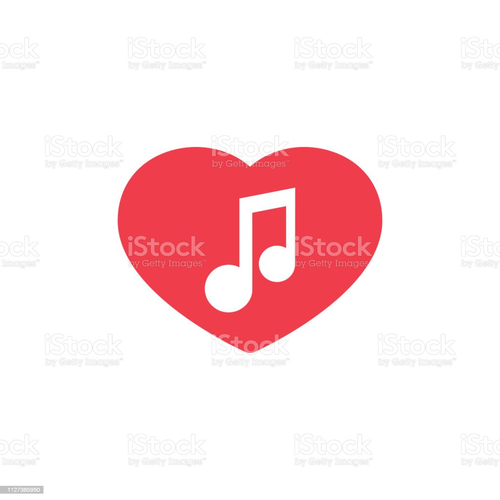 Web icon. Notes and heart, melody of Love vector art illustration