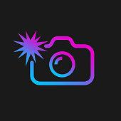 Web icon of modern line art camera. Camera with flash. Digital application pictogram. Vector Illustration. EPS 10