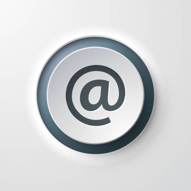 web icon push-button at sign email web icon push-button at sign email email signs stock illustrations