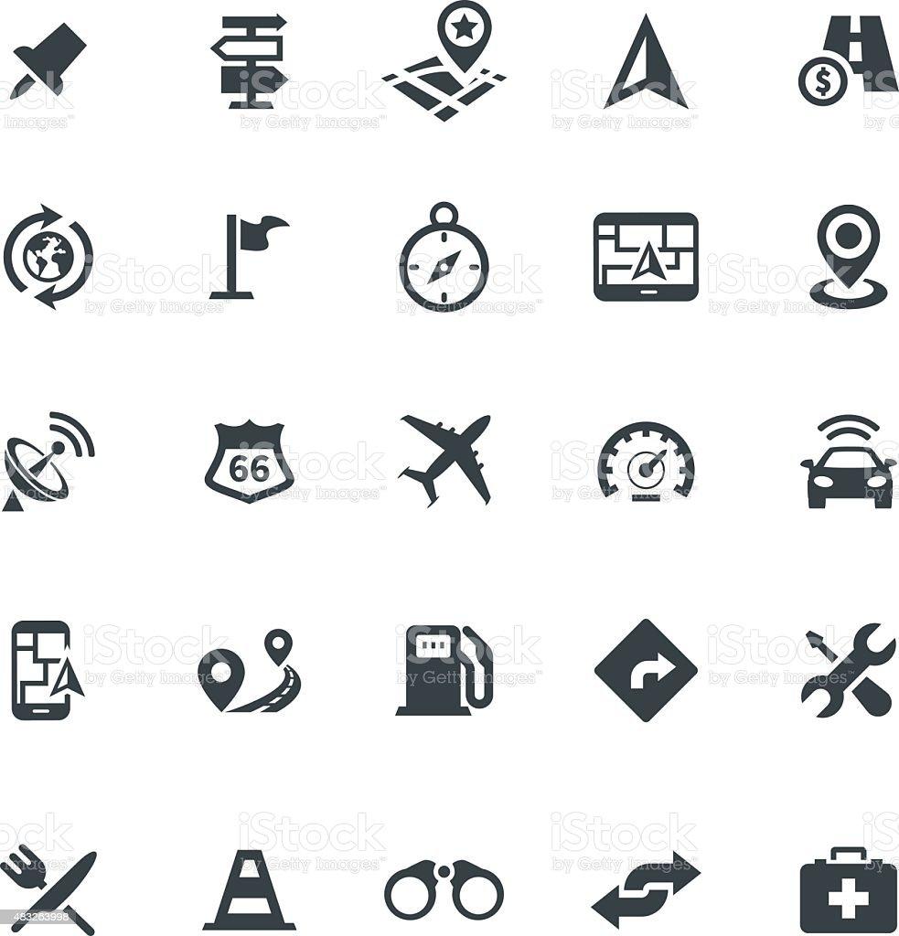 Web icon set - navigation, transport, map vector art illustration