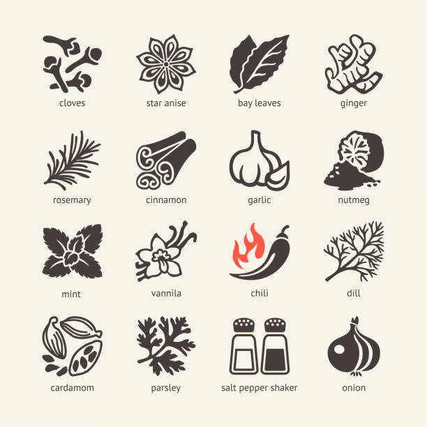 web icon set - spices, condiments and herbs - indian food stock illustrations, clip art, cartoons, & icons